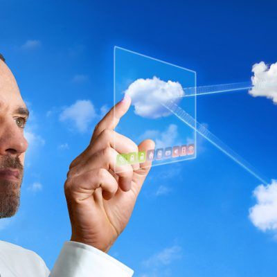 Businessman works with Virtual Cloud Computer